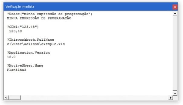 Exemplos de expressões resolvidas via Verificação Imediata